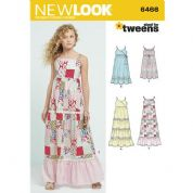 6466 New Look Pattern: Girls' Dresses with Trim, Bodice and Lace Variations